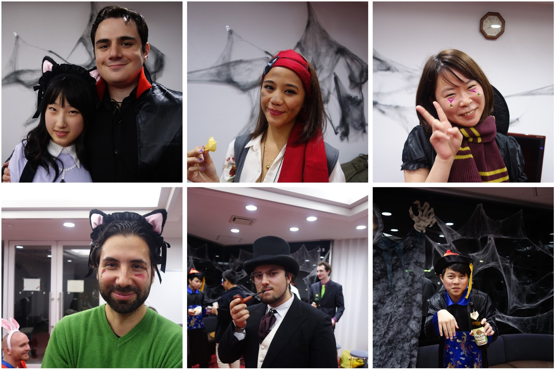 7 costumes, 9 nationalities (counting the background).