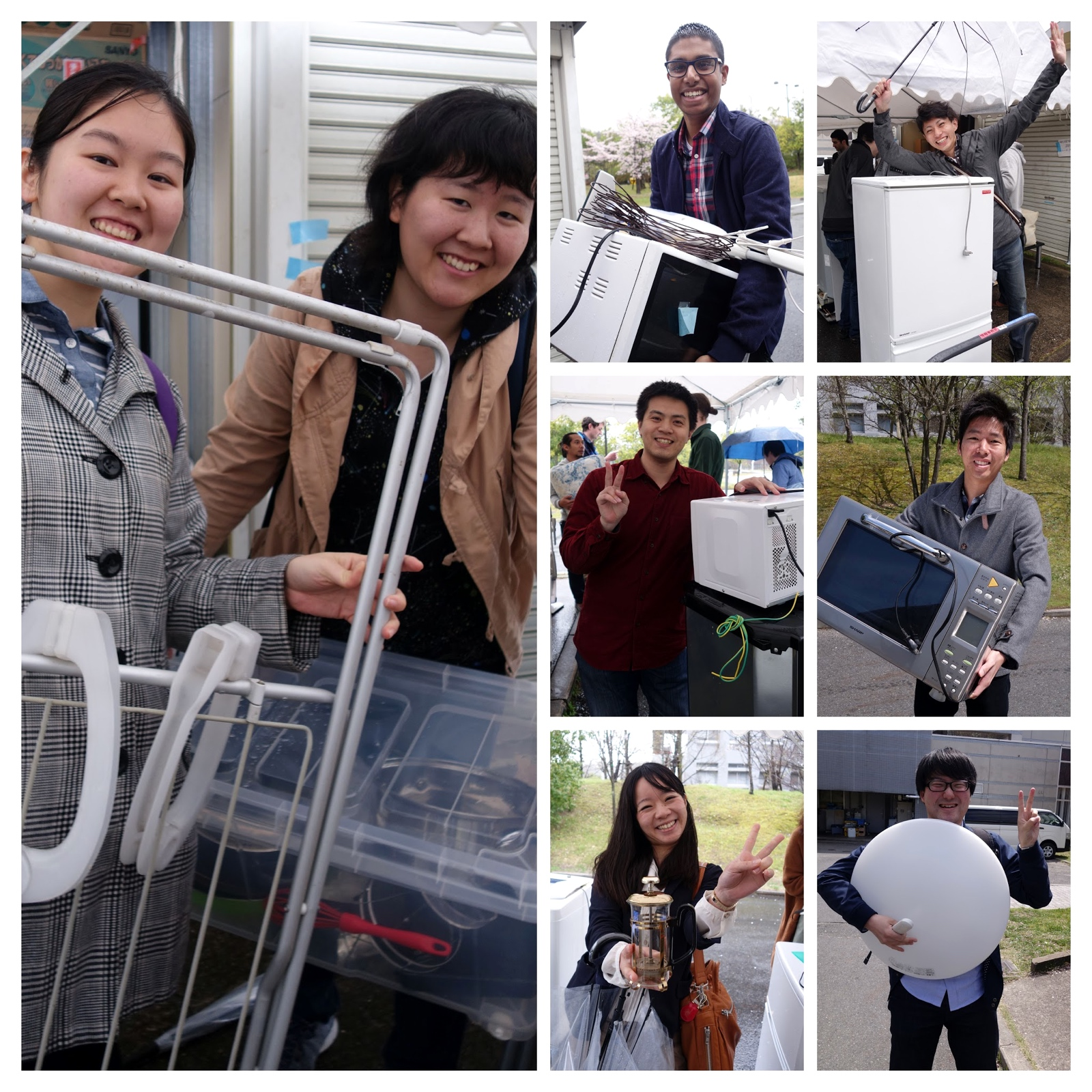 A small number of the happy people receiving items at the Reuse Market.