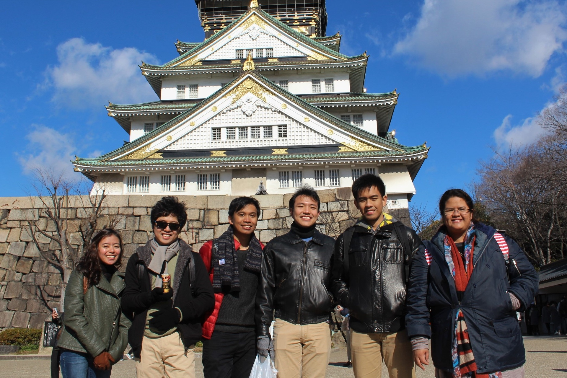 Filipino interns at Osaka Castle.