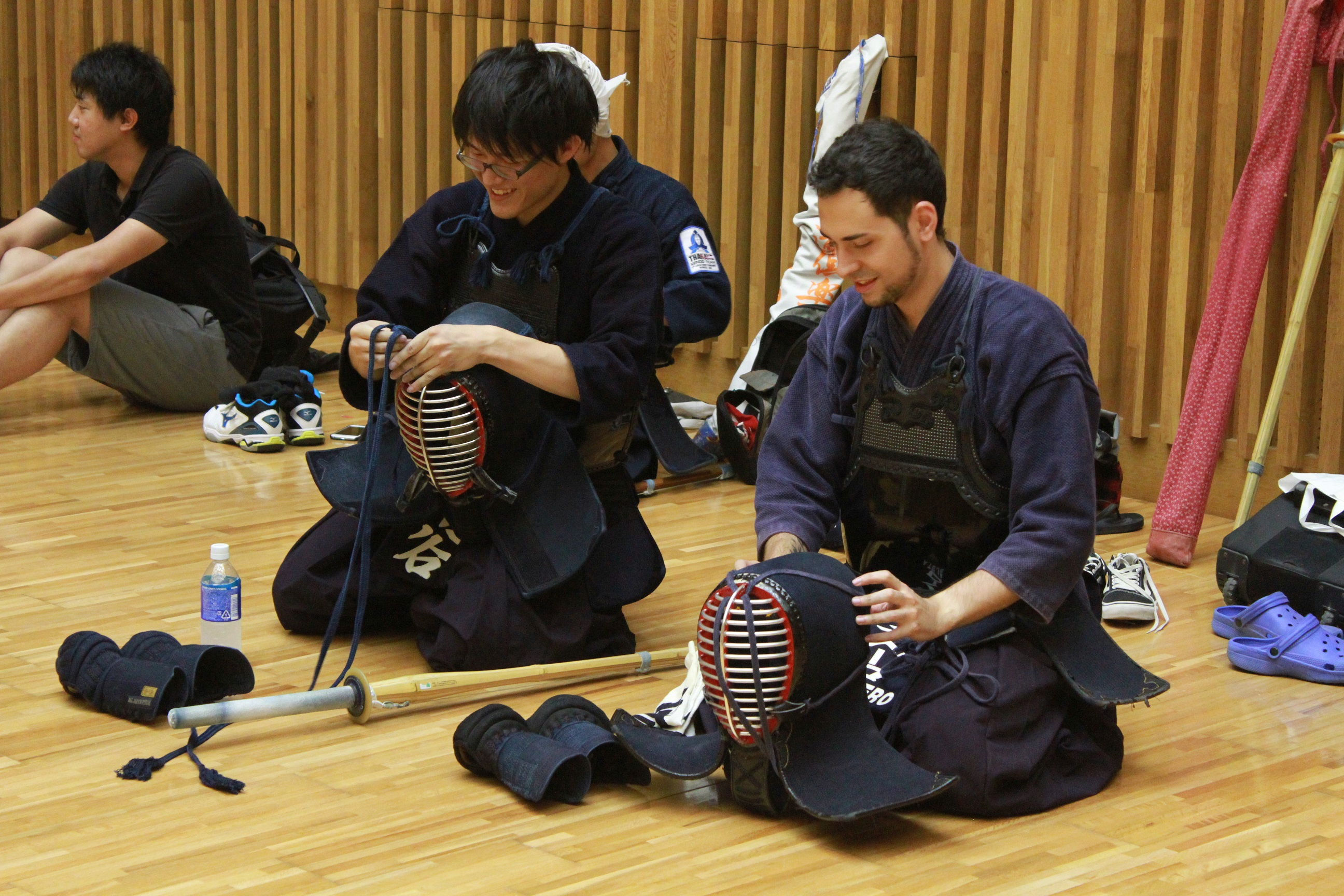 NAIST Kendo Club members getting ready for the practice.