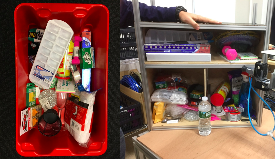 Dealing with clutter is a big part of the challenge. Left: A pile of items in the tote for the Stow task. Right: The items arranged in the storage system.