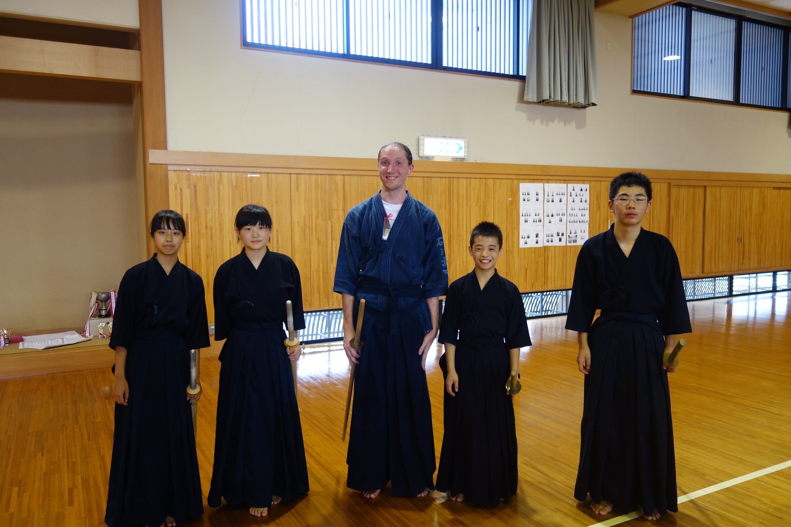 In Kawakita, the smallest region in Ishikawa province, participants join the kendo class of a local middle school.