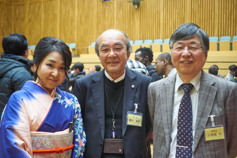 From Left: Ms. Rika Ogata, President Naokazu Yokoya, Prof. Tsukasa Ogasawara