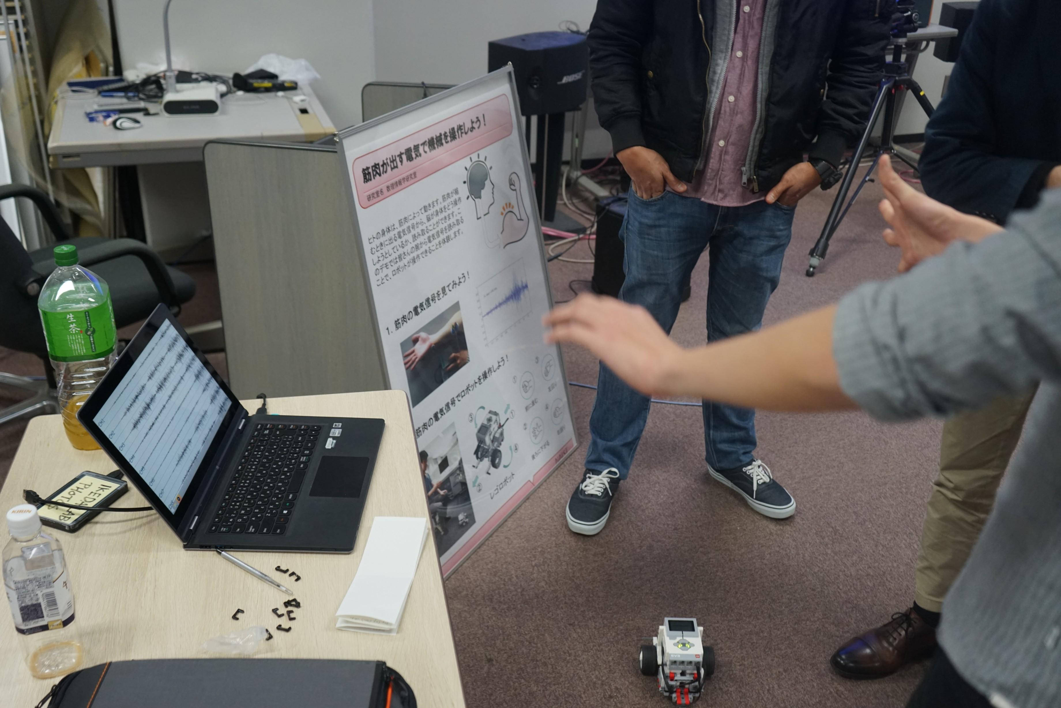 人の筋肉の動きを手首に取り付けるセンサから読み取りロボットを動かします。
