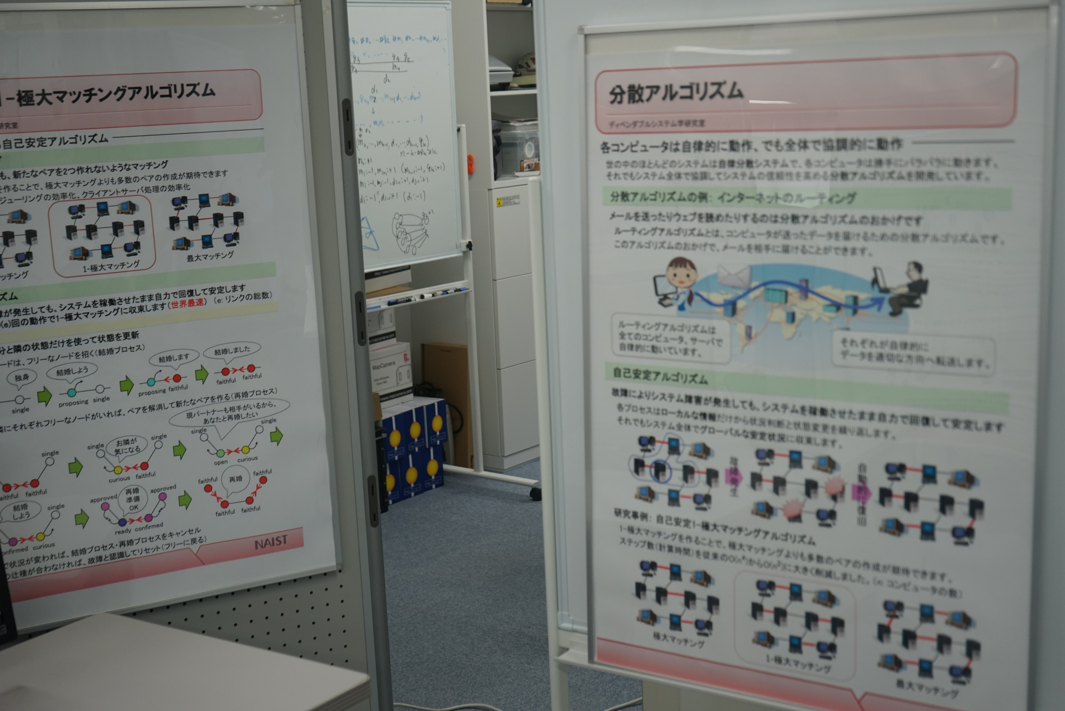 ここの研究室では分散アルゴリズムといった分散コンピューティングに関することを説明していました。